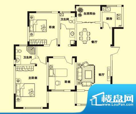 理想城s3户型: 3室面积:149.00m平米