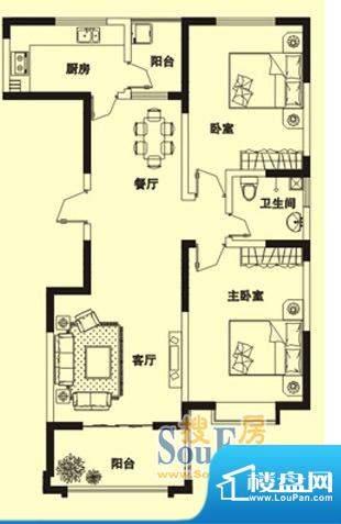 理想城H户型: 2室2面积:117.00m平米