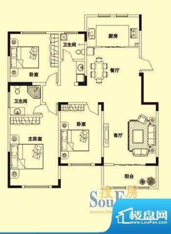 理想城N6户型: 3室面积:149.00m平米