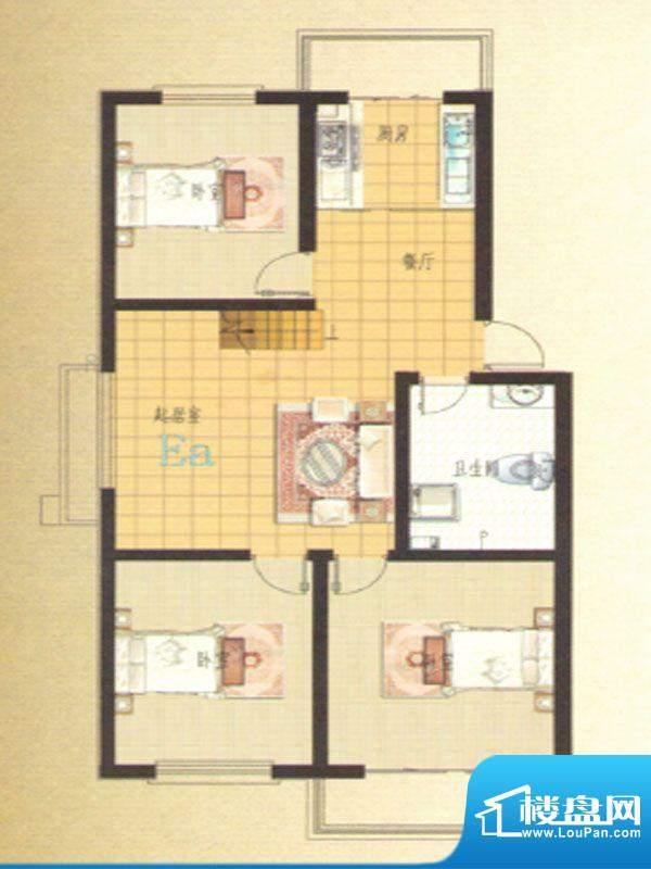 伊水华庭Ea户型 3室面积:112.65m平米