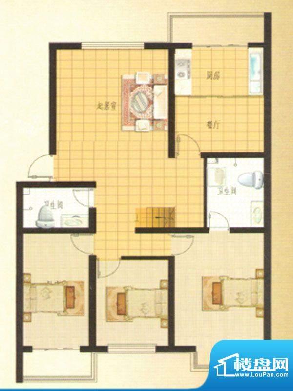 伊水华庭Eb户型 3室面积:133.59m平米