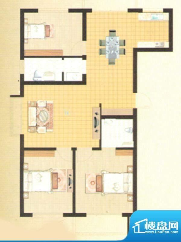 伊水华庭Fa户型 3室面积:120.05m平米