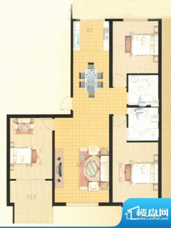 伊水华庭Fb户型 3室面积:143.29m平米