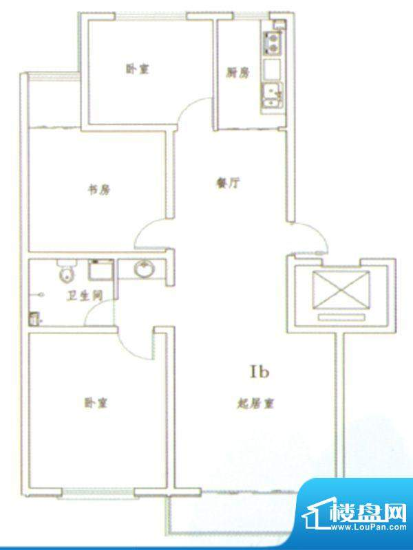 伊水华庭Ib户型 3室面积:120.00m平米