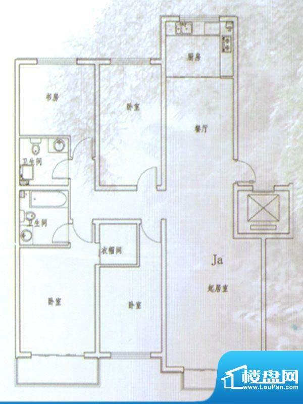 伊水华庭Ja户型 4室面积:160.00m平米