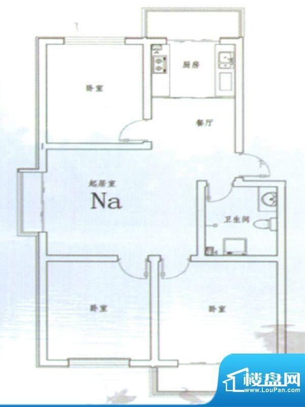 伊水华庭Na户型 3室面积:100.00m平米
