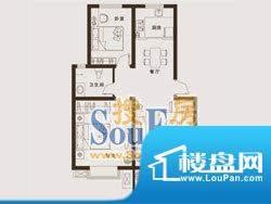 上海城户型5: 2室2厅面积:89.19m平米
