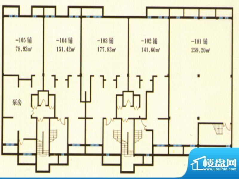 润景华庭户型商铺1号面积:0.00m平米