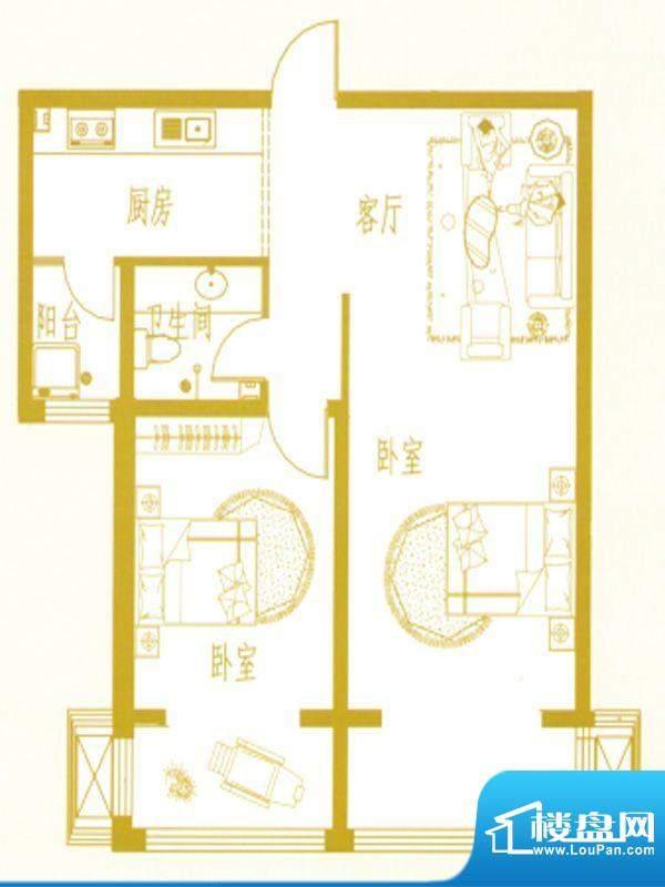 凤凰新城B户型 2室1面积:0.00m平米