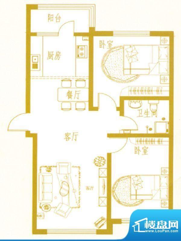 凤凰新城C户型 2室2面积:0.00m平米