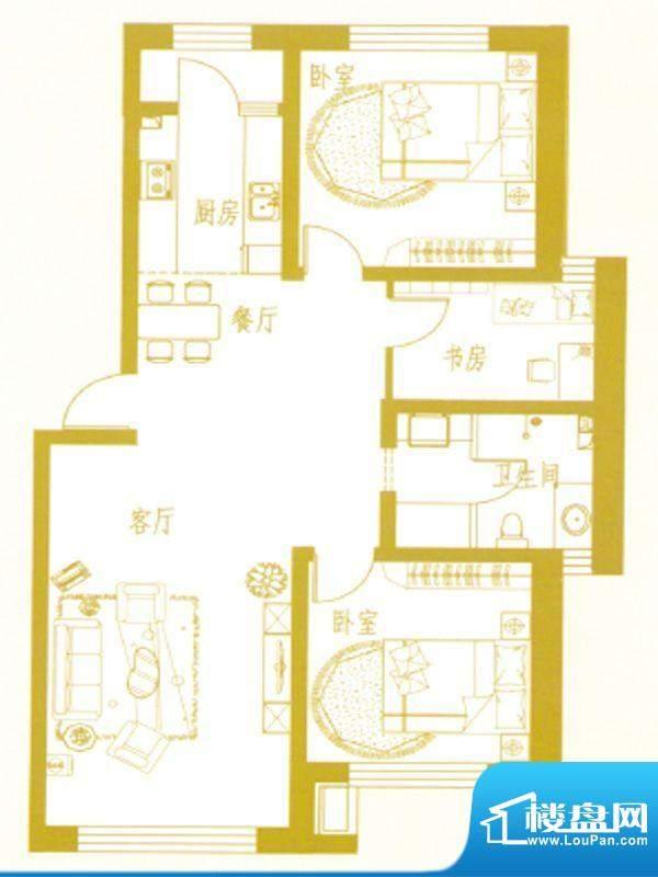 凤凰新城E户型 3室2面积:0.00m平米