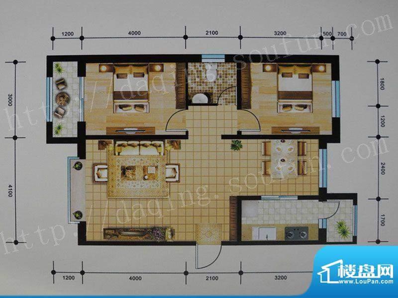 御湖湾C户型 2室2厅面积:92.00m平米