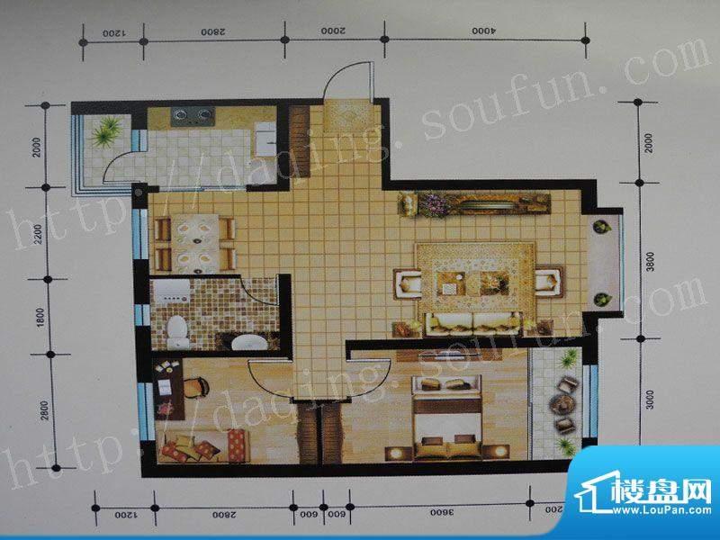 御湖湾G1户型 2室2厅面积:94.00m平米