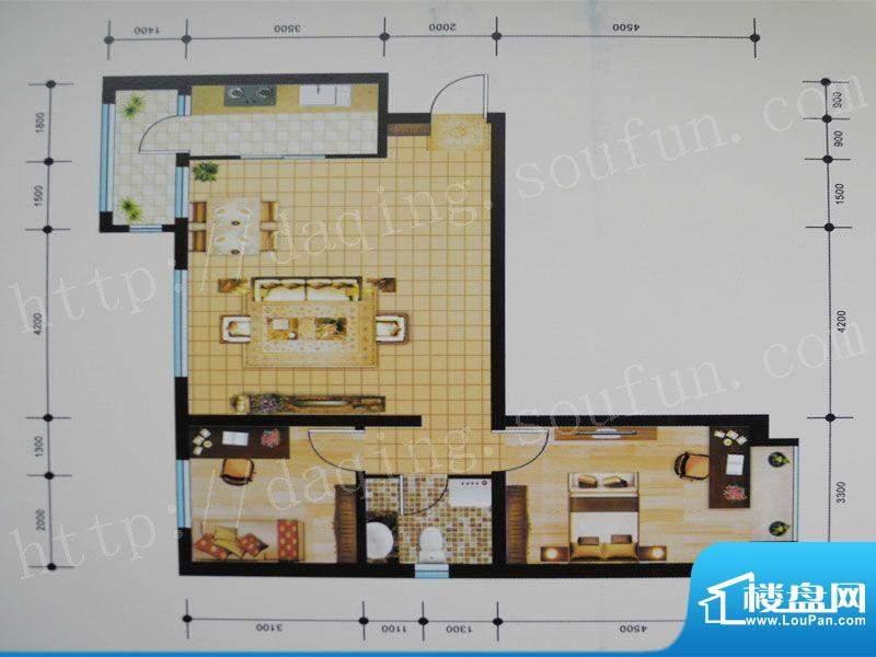 御湖湾J1户型 2室2厅面积:96.00m平米