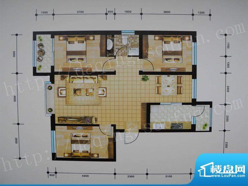御湖湾E户型 3室2厅面积:108.00m平米