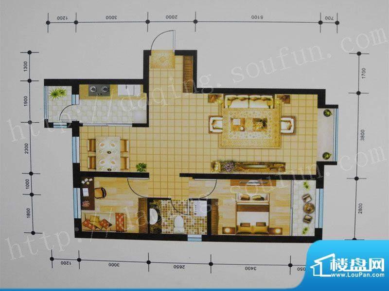 御湖湾H1户型 2室2厅面积:95.00m平米