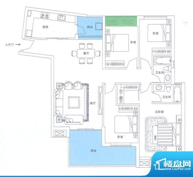 润华翡翠城116 4室2面积:152.52m平米