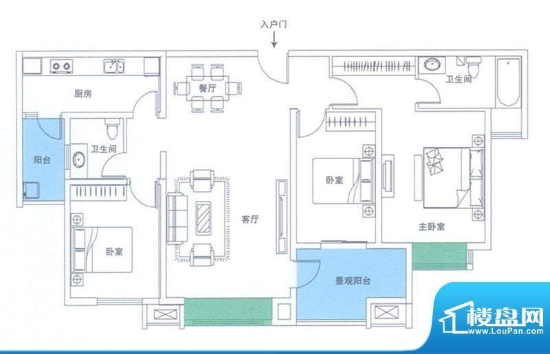 润华翡翠城117 3室2面积:155.67m平米