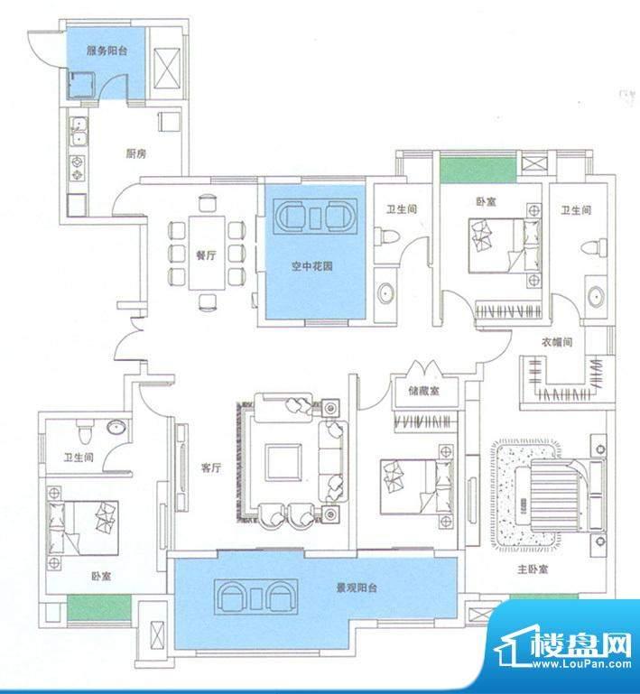 润华翡翠城118 4室2面积:205.67m平米