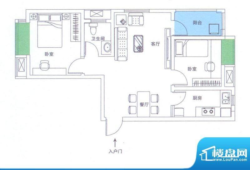 润华翡翠城112 2室2面积:80.91m平米