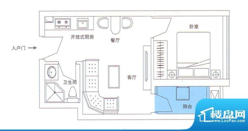 润华翡翠城113 1室2面积:44.48m平米
