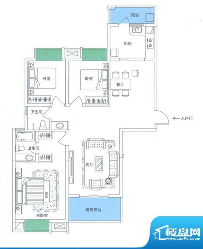 润华翡翠城114 3室2面积:137.12m平米