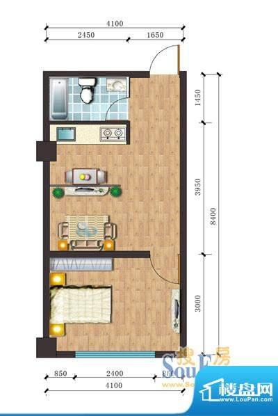 通达财富广场b户型 面积:33.59m平米