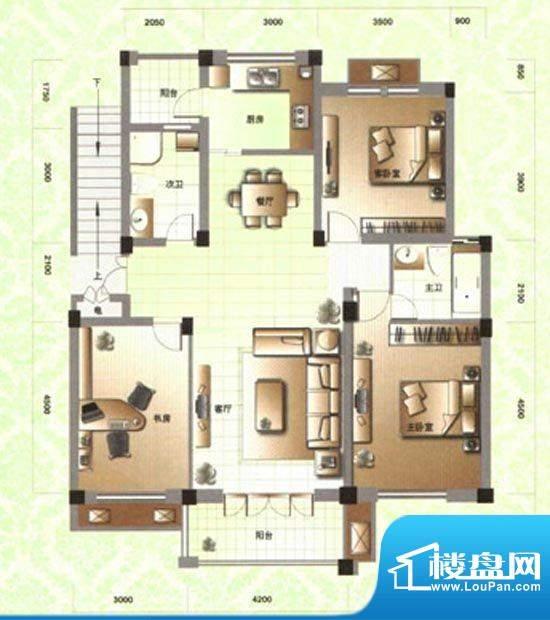 滨河阳光A2 3室2厅2面积:126.00m平米