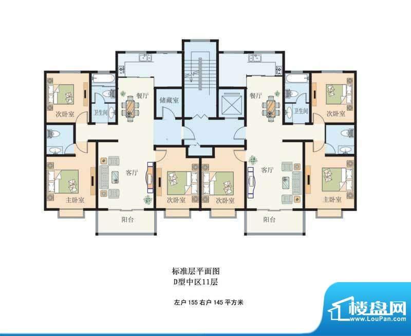 滨河绿洲3 2室2厅2卫面积:155.00m平米