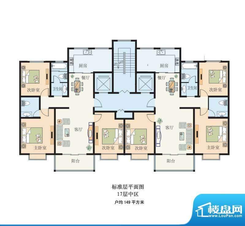 滨河绿洲5 3室2厅2卫面积:149.00m平米