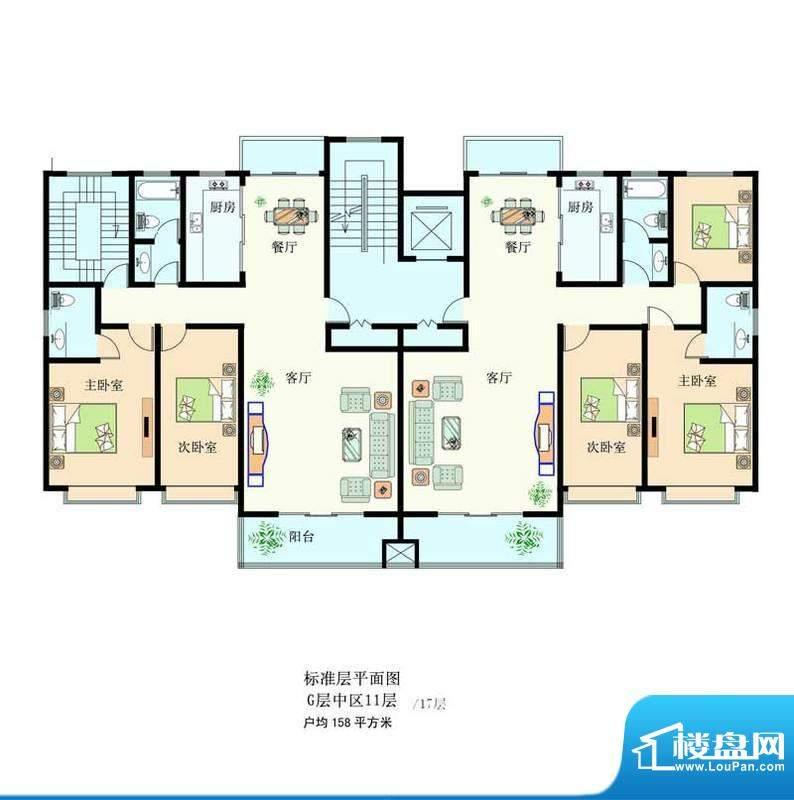 滨河绿洲1 3室2厅2卫面积:158.00m平米