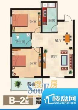 福兴国际B-2户型 2室面积:79.00m平米