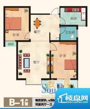 福兴国际B-1户型 2室面积:90.00m平米