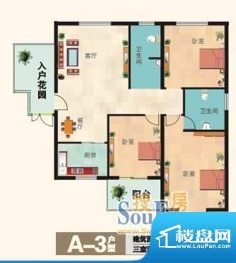 福兴国际A-3户型 3室面积:121.00m平米