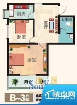 福兴国际B-3户型 2室面积:65.00m平米