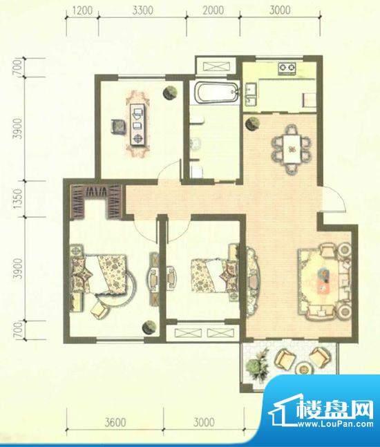 豪森华府B户型 3室2面积:113.36m平米