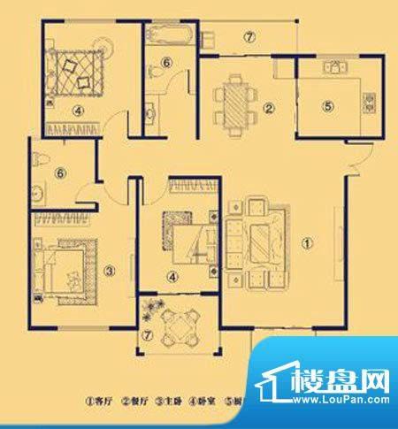 上宅公园世纪A三室两面积:130.00m平米