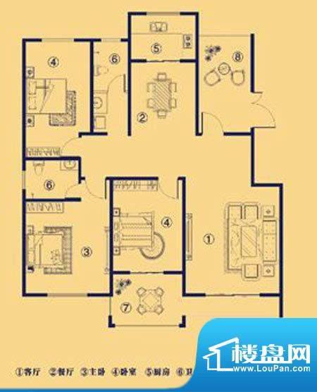 上宅公园世纪C三室两面积:155.00m平米