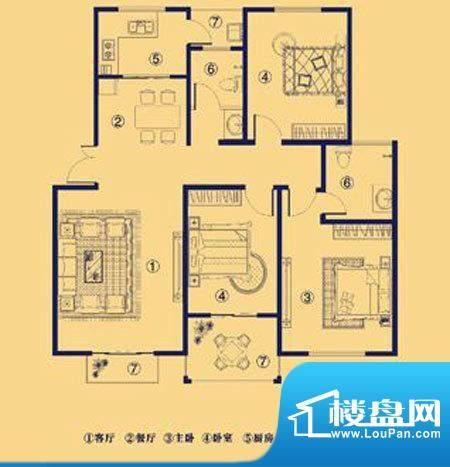 上宅公园世纪D1三室面积:121.00m平米