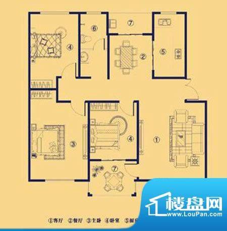 上宅公园世纪F三室两面积:119.00m平米