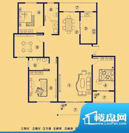 上宅公园世纪G四室两面积:172.00m平米