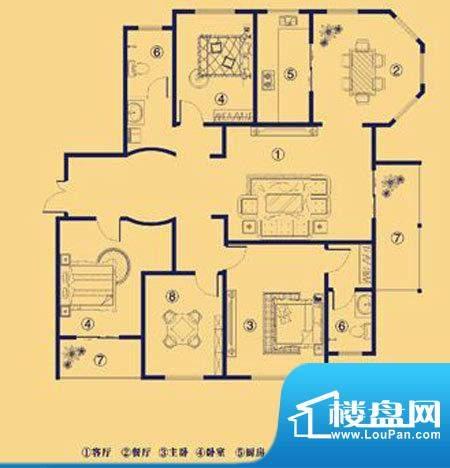 上宅公园世纪H四室两面积:189.00m平米