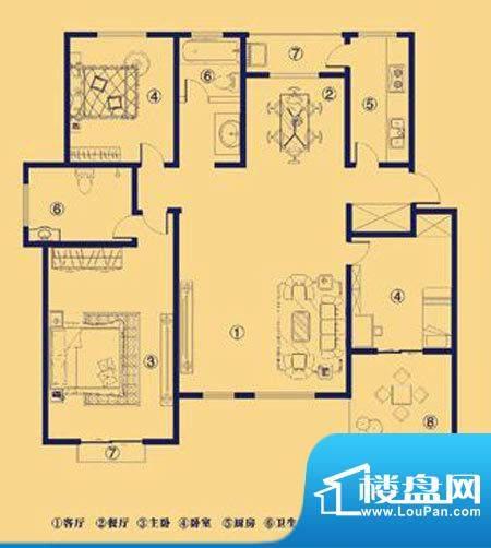 上宅公园世纪M3三室面积:137.00m平米
