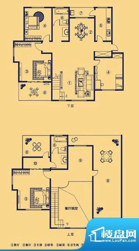 上宅公园世纪M5五室面积:183.00m平米