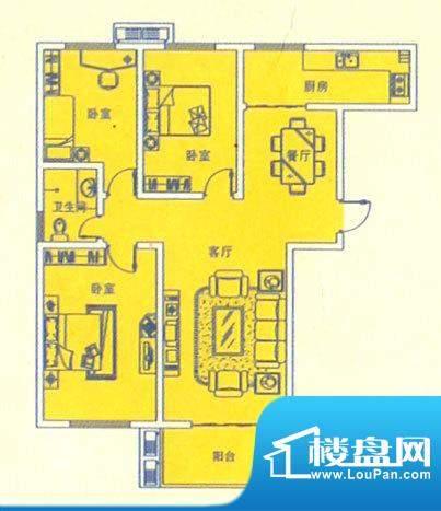 和平金色城品三室两面积:116.00m平米