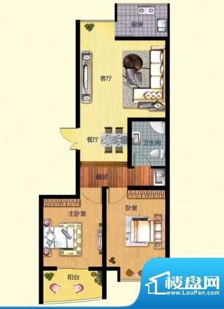 普罗旺金A户型 2室2面积:87.00m平米