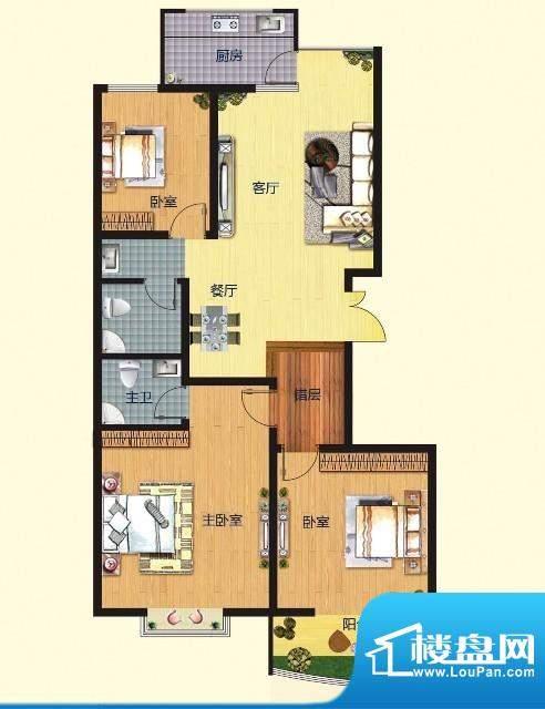 普罗旺金E户型 3室2面积:125.00m平米
