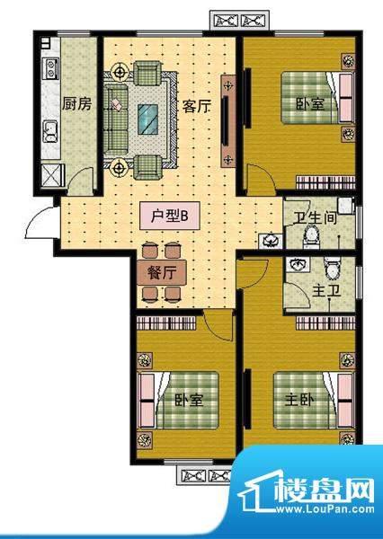 崇文社区户型B面积:105.78m平米