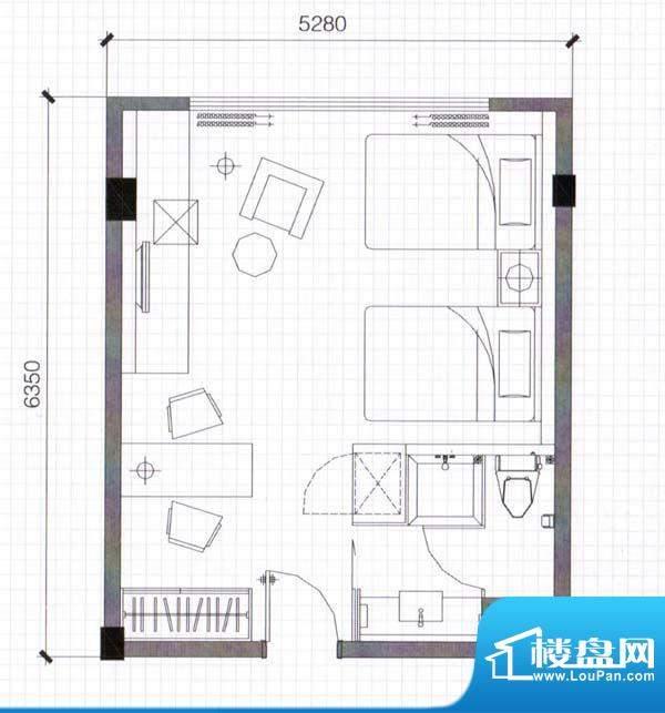 万仕酒店A3户型39面积:39.34m平米