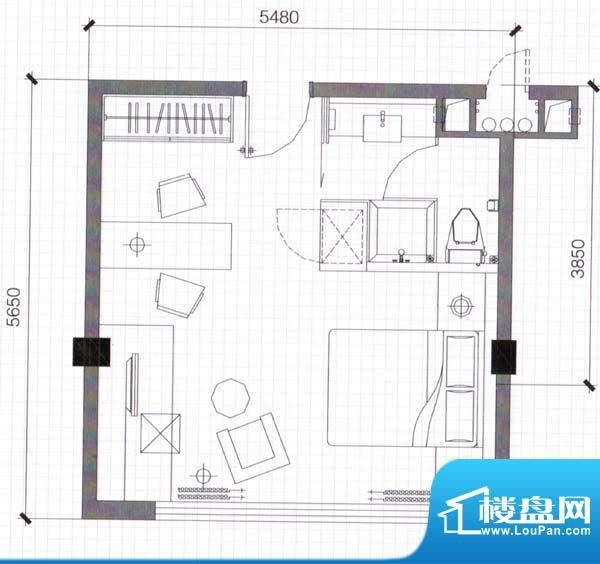 万仕酒店A1户型34面积:34.68m平米